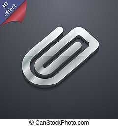 Paper Clip icon symbol. 3D style. Trendy, modern design with space for your text . Rastrized