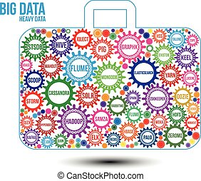 Interconnected colored big data technology gears composed in...