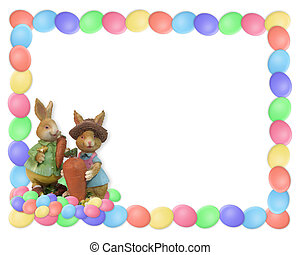 Easter Border Eggs and Bunnies - Illustrated Easter egg...