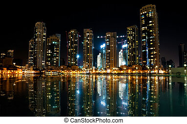 Colorful night view of city