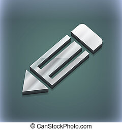 pencil icon symbol. 3D style. Trendy, modern design with...