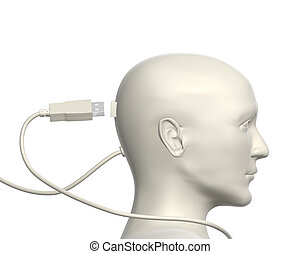 Connection - USB cable and human head