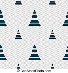 road cone icon Seamless pattern with geometric texture...