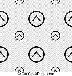 Direction arrow up icon sign. Seamless pattern with geometric texture.