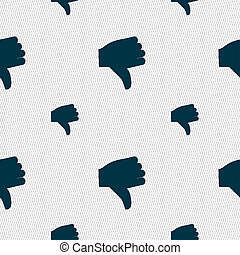 Dislike, Thumb down icon sign Seamless pattern with...