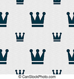 King, Crown icon sign Seamless pattern with geometric...