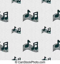 musical note, music, ringtone icon sign. Seamless pattern...
