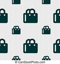 shopping bag icon sign Seamless pattern with geometric...