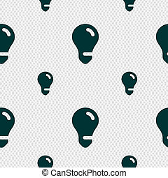 light bulb, idea icon sign. Seamless pattern with geometric...