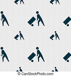 Loader icon sign. Seamless pattern with geometric texture.