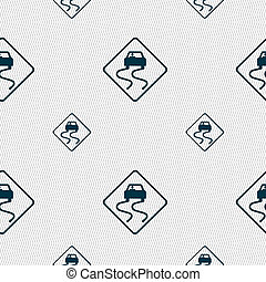 Road slippery icon sign Seamless pattern with geometric...