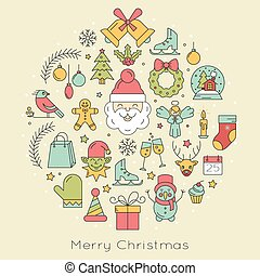 Design element for postcard, invitation or banner with different Christmas symbols made in line style vector.