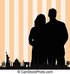 couple with famous monument color vector