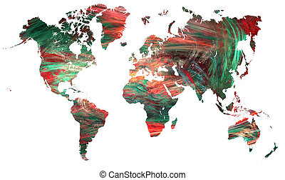 world connectivity - world map over white with...