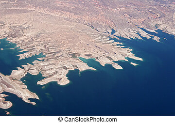 desert coastline - Aerial view of an American coastline with...