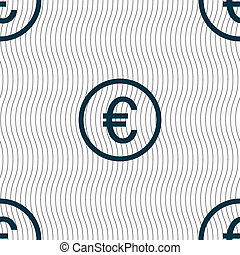 Euro icon sign. Seamless pattern with geometric texture.