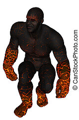 Fire giant - 3D rendered fire giant on white background...