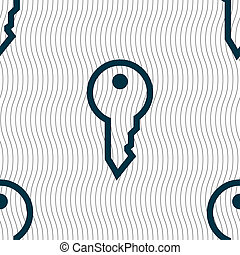 Key icon sign Seamless pattern with geometric texture...