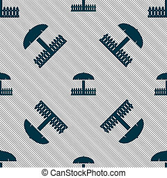 Sandbox icon sign Seamless pattern with geometric texture...