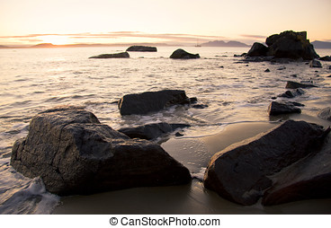 Swansea Coastline Sunrise - Morning Sunrise On The Rocky...