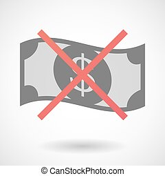 Not allowed icon with a dollar bank note - Illustration of...