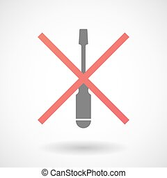 Not allowed icon with a screwdriver - Illustration of an...