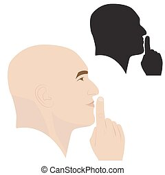 silence gesture - vector illustration of man profile showing...