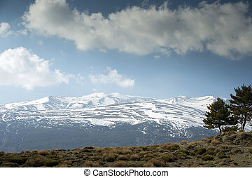 sierra nevada - view of mountians and clouds in the sierra...