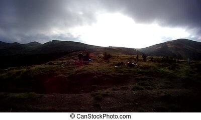 Time lapse of setting up a camp with tents - Time lapse of...