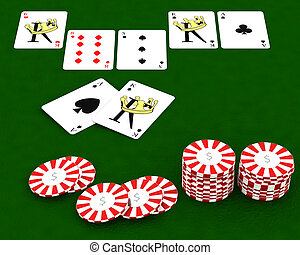 casion chips and playing cards - 3D render of Casino chips...