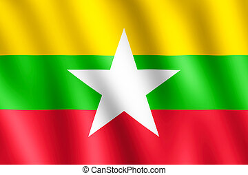 Flag of Myanmar waving in the wind giving an undulating...