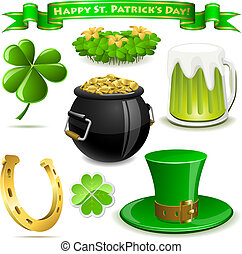 Saint Patrick's Day symbols vector set  isolated on white.