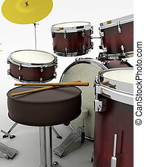 Drumkit - 3d render of a concert drum kit