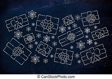set of wrapped up Christmas presents and snowflakes -...