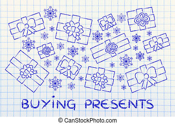 set of wrapped up gifts and snowflakes with text Buying...