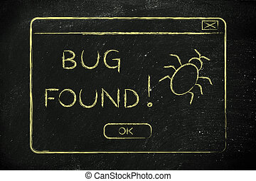 flat illustraion of a funny pop-up about a bug found - funny...