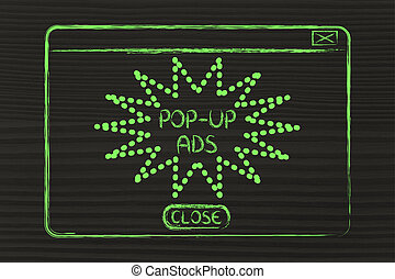 flat illustraion of a funny pop-up ad window - funny minimal...