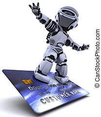 Robot surfing on credit card - 3D render of a robot and...