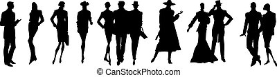 Set of Silhouettes of People