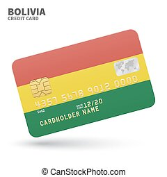 Credit card with Bolivia flag background for bank,...