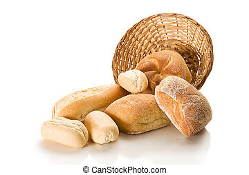 Buns - Basket and bread studio isolated on white background