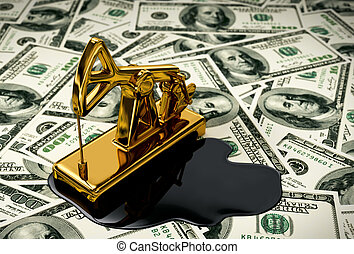 Golden Pumpjack And Spilled Oil On The Money 3D Scene
