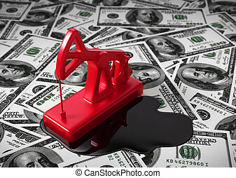 Pumpjack And Spilled Oil On The Money 3D Scene