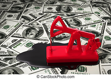 Red Pumpjack And Spilled Oil On The Money 3D Scene
