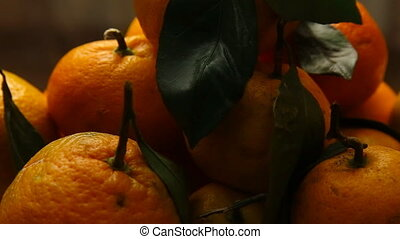Fresh Tangerines with leaves - Tangerines with fresh green...