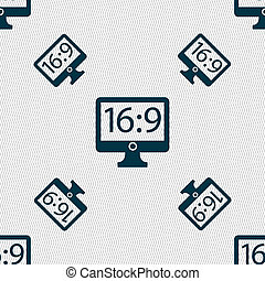 Aspect ratio 16 9 widescreen tv icon sign. Seamless pattern with geometric texture.