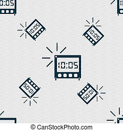 digital Alarm Clock icon sign Seamless pattern with...