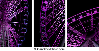 Night Ferris Wheel - Triptych Image Of A Revolving Purple...