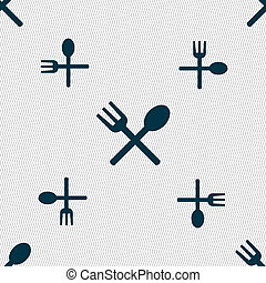 Fork and spoon crosswise, Cutlery, Eat icon sign. Seamless...