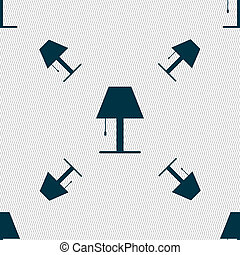 Lamp icon sign Seamless pattern with geometric texture...